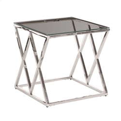 Silver & Glass Diamond Accent Table