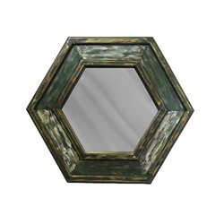 Aged Green Wood Hexagon Mirror