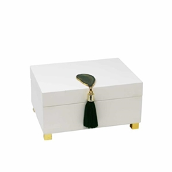 White Box With Green Agate & Tassel