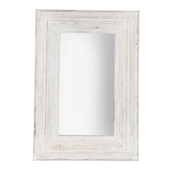 "Wood Frame 24 X 36"" Wall Mirror - Antique White"