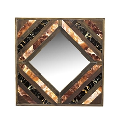 Wood & Marble Mirror - Brown & Black