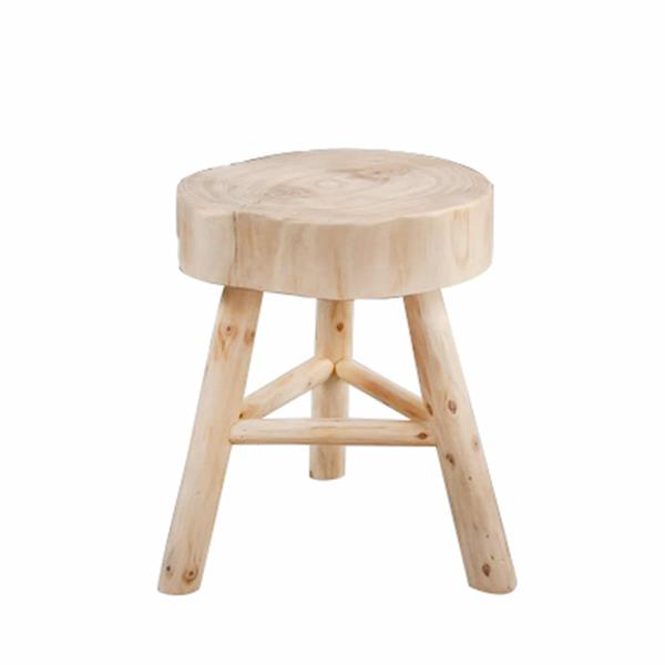 "Wooden 15.75"" Stool- Natural"