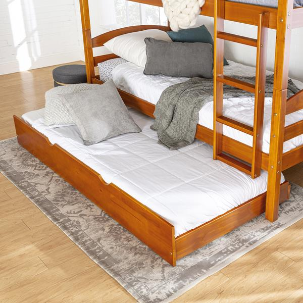 Solid Wood Trundle Bed - Honey