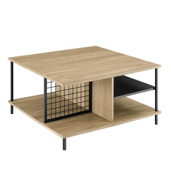"30"" Metal and Wood Square Coffee table - English Oak"