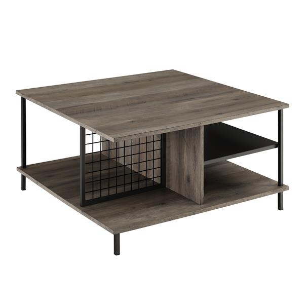 "30"" Metal and Wood Square Coffee Table - Grey Wash"