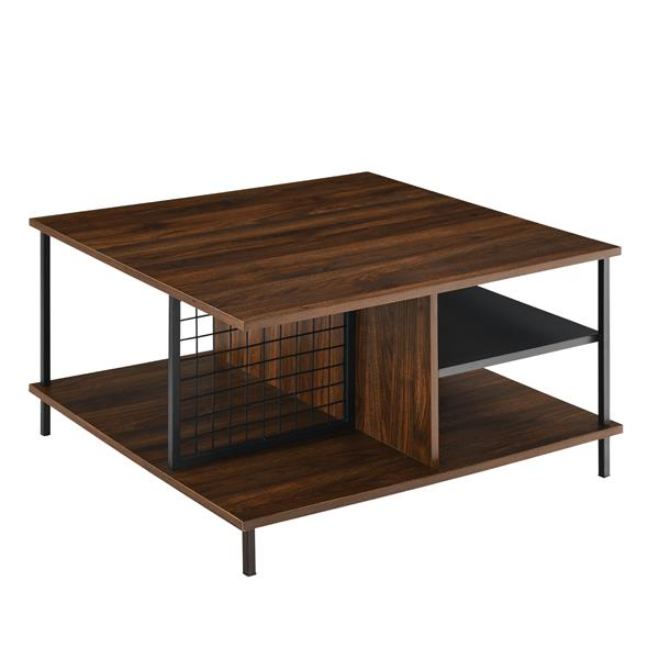 "30"" Metal and Wood Square Coffee Table -Dark Walnut"