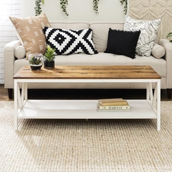 "48"" Distressed Farmhouse Coffee Table - Reclaimed Barnwood & White Wash"