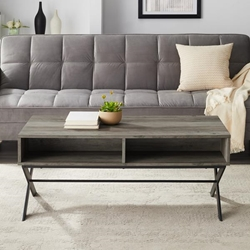 "42"" X Leg Metal and Wood Coffee Table - Grey Wash"