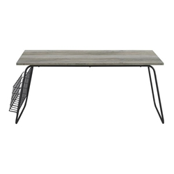 "40"" Modern Coffee Table with Magazine Holder - Grey Wash & Black"