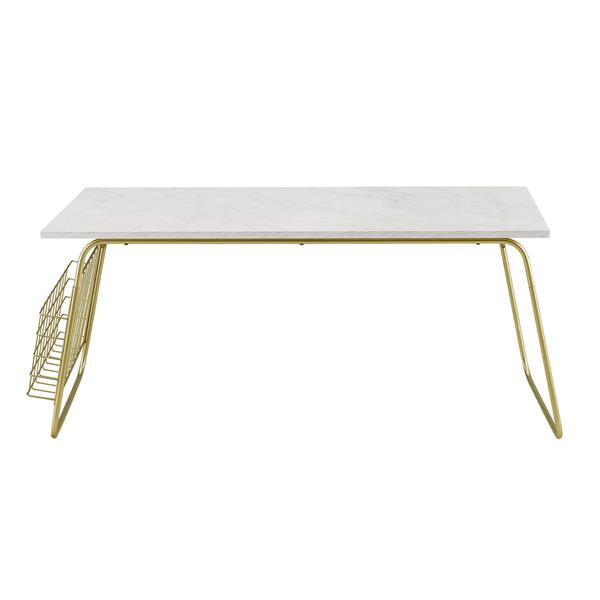 "40"" Modern Coffee Table with Magazine Holder - White Faux Marble & Gold"