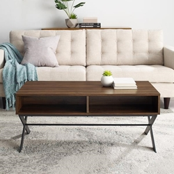 "42"" X Leg Metal and Wood Coffee Table - Dark Walnut"