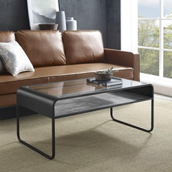"42"" Modern Reversible Shelf Curved Metal Coffee Table - Dark Concrete & Reclaimed Barnwood"