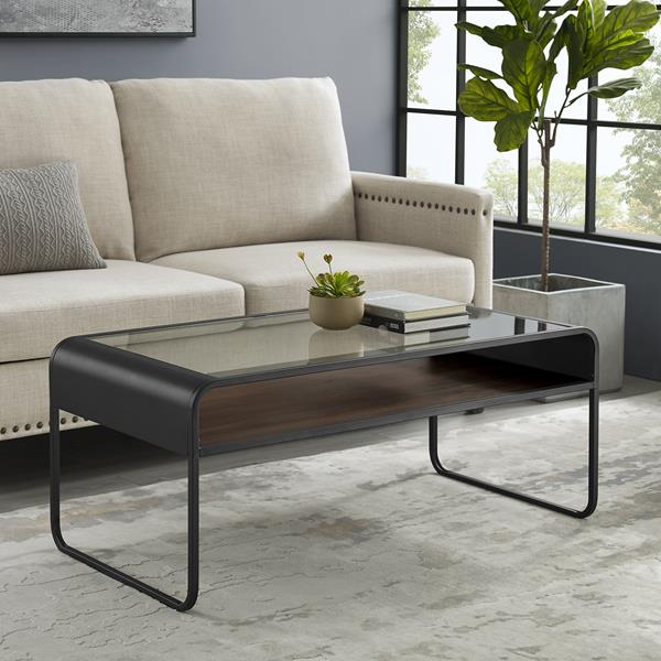 "42"" Modern Reversible Shelf Curved Metal Coffee Table - Grey Wash & Dark Walnut"