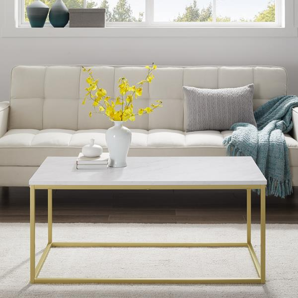 "42"" Open Box Coffee Table - White Faux Marble & Gold"