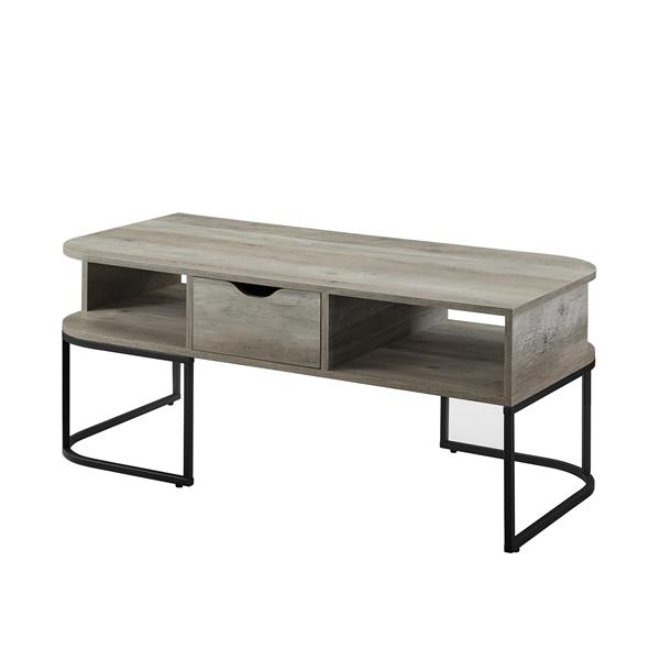 1-Drawer Curved Coffee Table - Grey Wash