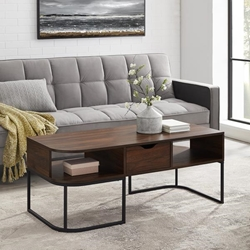 1-Drawer Curved Coffee Table - Dark Walnut