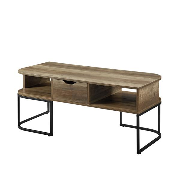 1-Drawer Curved Coffee Table - Reclaimed Barnwood