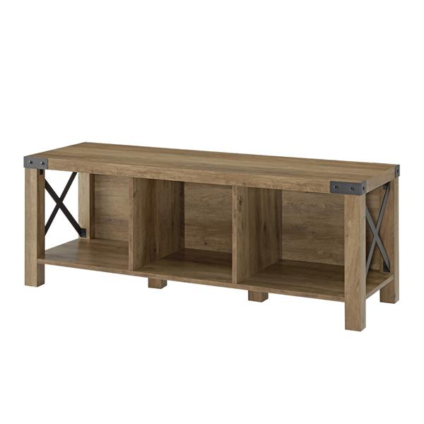 "48"" Farmhouse Wood & Metal Entry Bench - Reclaimed Barnwood"