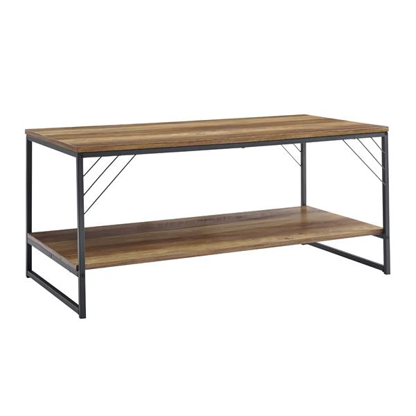 "40"" Industrial Metal Accent Coffee Table - Reclaimed Barnwood"