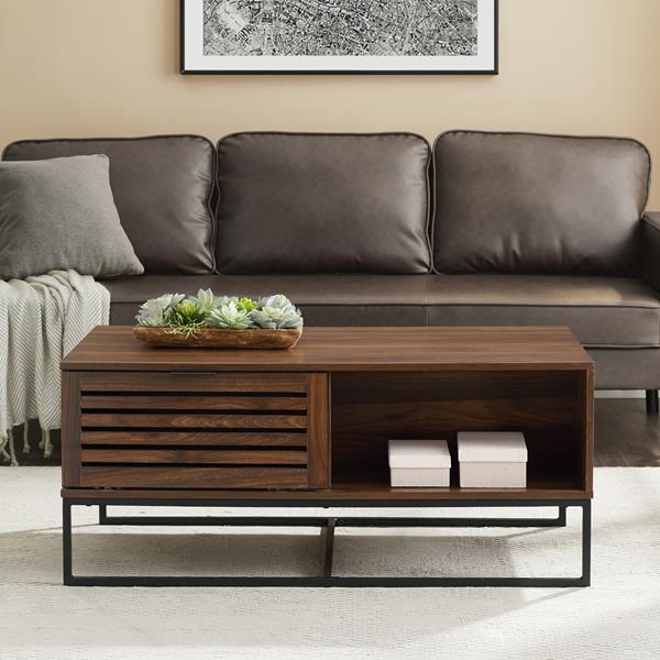 "42"" Modern Slat Door Coffee Table - Dark Walnut"