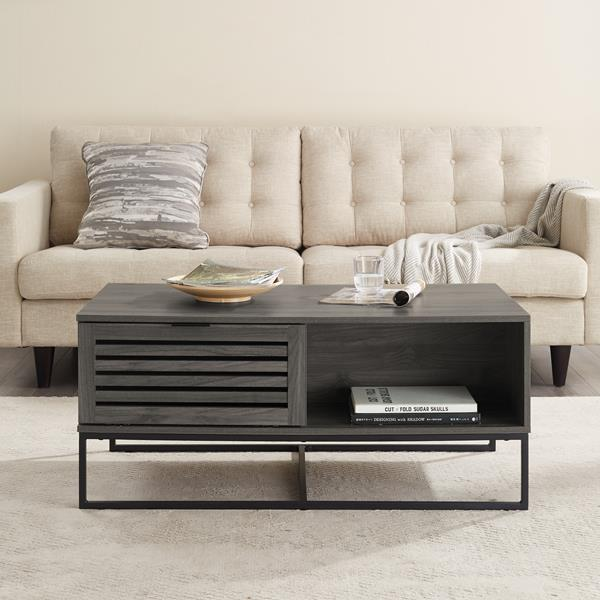 "42"" Modern Slat Door Coffee Table - Slate Grey"
