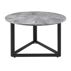 "32"" Modern Metal Base Round Coffee Table - Dark Concrete"