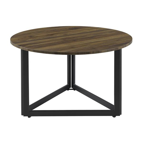 "32"" Modern Metal Base Round Coffee Table - Dark Walnut"