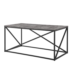 "40"" Modern Geometric Coffee Table - Dark Concrete"