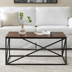 "40"" Modern Geometric Coffee Table - Dark Walnut"