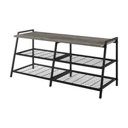 "42"" Industrial Metal & Wood Entry Bench - Grey Wash"