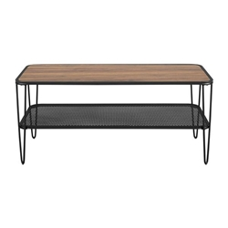 "42"" Urban Industrial Mesh Metal Shelf Hairpin Leg Coffee Table - Dark Walnut"