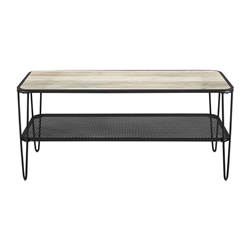 "42"" Urban Industrial Mesh Metal Shelf Hairpin Leg Coffee Table - Grey Wash"