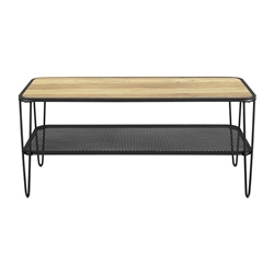 "42"" Urban Industrial Mesh Metal Shelf Hairpin Leg Coffee Table - Rustic Oak"