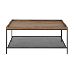"42"" Tray Coffee Table with Mesh Metal Shelf - Dark Walnut"
