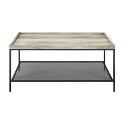 "42"" Tray Coffee Table with Mesh Metal Shelf - Grey Wash"
