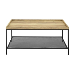 "42"" Tray Coffee Table with Mesh Metal Shelf - Rustic Oak"