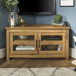 "44"" Transitional Modern Farmhouse Wood Corner TV Stand - Barnwood"