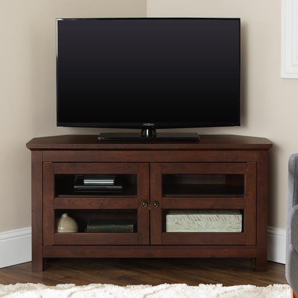 "44"" Transitional Modern Farmhouse Wood Corner TV Stand - Brown"