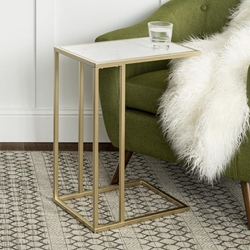Modern End Table - Faux White Marble & Gold