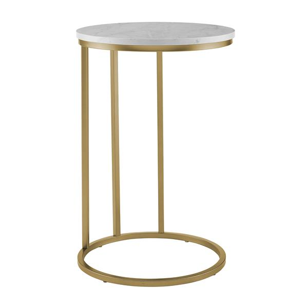 Modern Round End Table - Faux White Marble & Gold