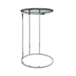 Modern Round End Table - Glass & Chrome