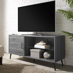 "52"" Mid Century Modern Wood TV Stand - Slate Grey"
