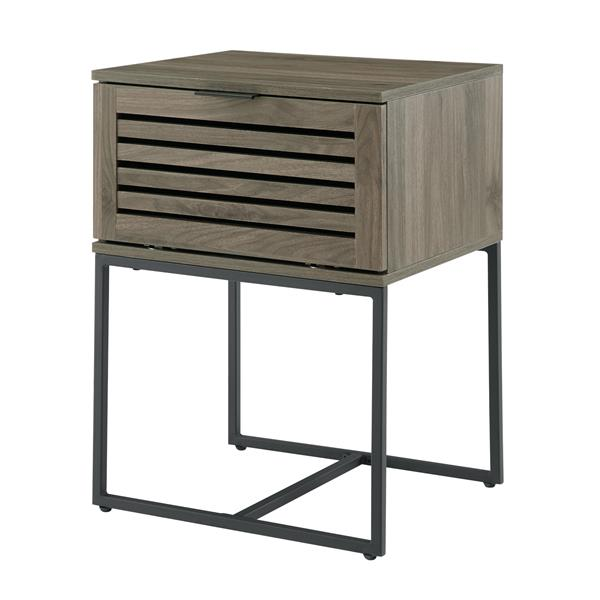 "18"" Modern Slat Door Side Table - Slate Grey"