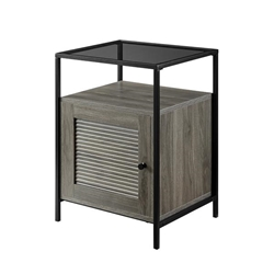 "18"" Fluted Door End Table - Slate Grey"