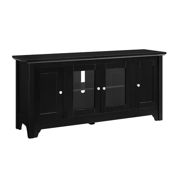 "52"" Transitional Wood Glass TV Stand - Black - Style A"
