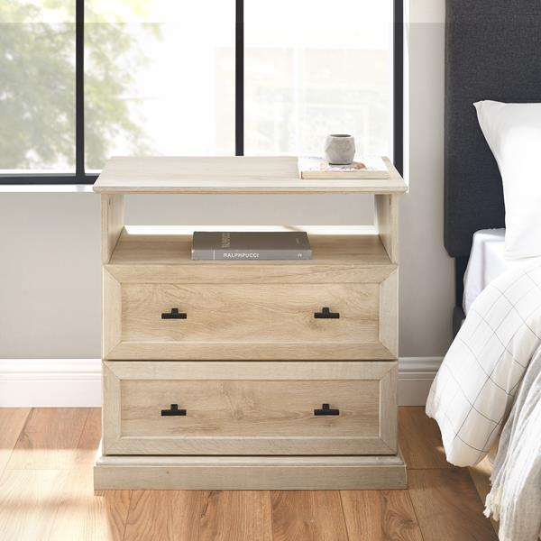 Classic 2 Drawer End Table - White Oak