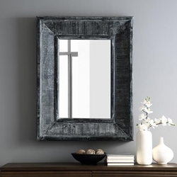 "36"" Modern Industrial Wood Wall Mirror"
