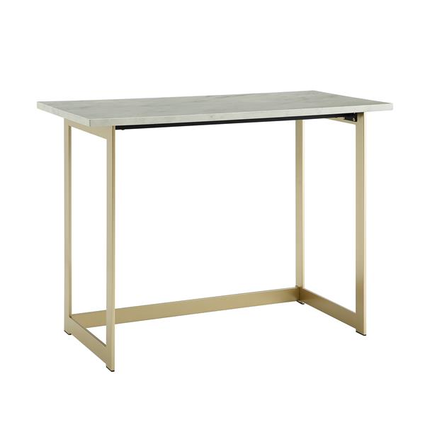 "42"" Modern Faux Marble Computer Desk - Faux White Marble & Gold"
