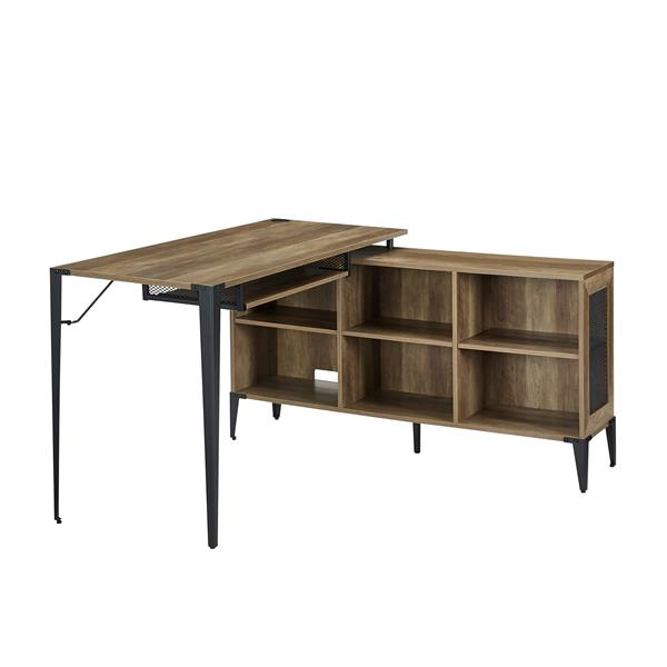 "52"" L-Shaped Computer Desk with Storage - Reclaimed Barnwood"