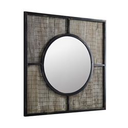 "32"" Rustic Modern Square Wood Wall Mirror"